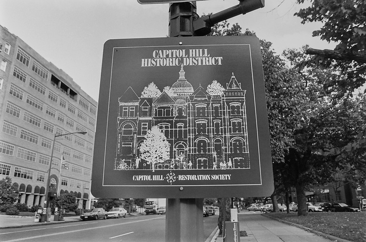 Capitol Hill District Sign on Oct. 24, 1991. (Photo by Laura Patterson/CQ Roll Call via Getty Images)