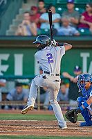 Julio Carreras (2) of the Grand Junction Rockies at bat against the Ogden Raptors at Lindquist Field on August 28, 2019 in Ogden, Utah. The Rockies defeated the Raptors 8-5. (Stephen Smith/Four Seam Images)
