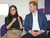 01 December 2017 - Prince Harry and Meghan Markle at the Nottingham Academy school in Nottingham, Nottinghamshire where they met head teachers, pupils, staff and mentors involved in the Full Effect programme. The couple took part in their first official visit together, choosing to raise awareness of HIV/AIDS with a visit to a youth project in Nottingham, Nottinghamshire. Photo Credit: ALPR/AdMedia