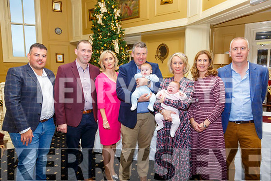 Foley Twins Christening: Babies Marc & Emily Foley with their parents Patrick & Joanne Foley, Glin, Co Limerick who were christened in Glin Church By Fr. John Mockler and afterwards in the Listowel Arms Hotel. L-R: Michael Connolly, Sean Foley, Mairead Ryan, Patrick & Marc Foley,  Koanne & Emily Foley, Elaine Connolly & Stephen Nally.