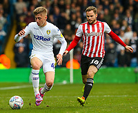 Leeds United's Jack Clarke gets away from Brentford's Alan Judge<br /> <br /> Photographer Alex Dodd/CameraSport<br /> <br /> The EFL Sky Bet Championship - Leeds United v Brentford - Saturday 6th October 2018 - Elland Road - Leeds<br /> <br /> World Copyright &copy; 2018 CameraSport. All rights reserved. 43 Linden Ave. Countesthorpe. Leicester. England. LE8 5PG - Tel: +44 (0) 116 277 4147 - admin@camerasport.com - www.camerasport.com