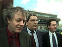 BELFAST,NORTHERN IRELAND: SDLP key figures Sean Farren, John Hume and Alex Attwood exits Block B Castle Buildings, Stormont, April 9th 1998