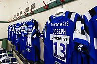 A general view in the away changing rooms at Welford Road. Gallagher Premiership match, between Leicester Tigers and Bath Rugby on May 18, 2019 at Welford Road in Leicester, England. Photo by: Patrick Khachfe / Onside Images