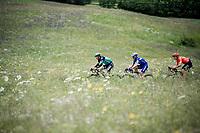succesfull early breakaway group consisting of: Julian Alaphilippe (FRA/Deceuninck - Quick-Step), Gregor Mühlberger (AUT/Bora-Hansgrohe) & Alessandro De Marchi (ITA/CCC)<br /> <br /> Stage 6: Saint-Vulbas to Saint-Michel-de-Maurienne (228km)<br /> 71st Critérium du Dauphiné 2019 (2.UWT)<br /> <br /> ©kramon