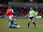 Chris Maxwell of Fleetwood Town  saves at the feet of Che Adams of Sheffield Utd - English League One - Fleetwood Town vs Sheffield Utd - Highbury Stadium - Fleetwood - England - 5rd March 2016 - Picture Simon Bellis/Sportimage