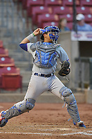 South Bend Cubs catcher Miguel Amaya (9) throws to second base against the Cedar Rapids Kernels at Veterans Memorial Stadium on May 1, 2018 in Cedar Rapids, Iowa.  (Dennis Hubbard/Four Seam Images)