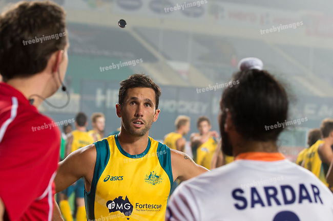 Mens Hockey World league Final Delhi 2014<br /> Day 4, 15-01-2014<br /> Australia v India<br /> Australian Captain Mark Knowles at the toss of the coin<br /> Photo: Grant Treeby / treebyimages