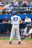 Nelson Maldonado (27) of the Florida Gators at bat against the Wake Forest Demon Deacons in the completion of Game Two of the Gainesville Super Regional of the 2017 College World Series at Alfred McKethan Stadium at Perry Field on June 12, 2017 in Gainesville, Florida. The Demon Deacons walked off the Gators 8-6 in 11 innings. (Brian Westerholt/Four Seam Images)