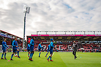Arsenal players warm up ahead of the Premier League match between Bournemouth and Arsenal at the Goldsands Stadium, Bournemouth, England on 14 January 2018. Photo by Andy Rowland.