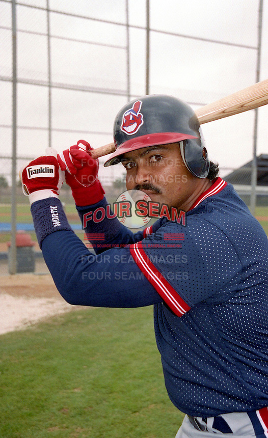Cleveland Indians Junior Ortiz (0) during Spring Training 1993 at Chain of Lakes Park in Winter Haven, Florida.  (MJA/Four Seam Images)