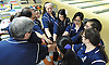 The St. Dominic girls' bowling team rallies together before the start of the CHSAA championship against St. John the Baptist at Farmingdale Lanes on Thursday, Feb. 4, 2016.