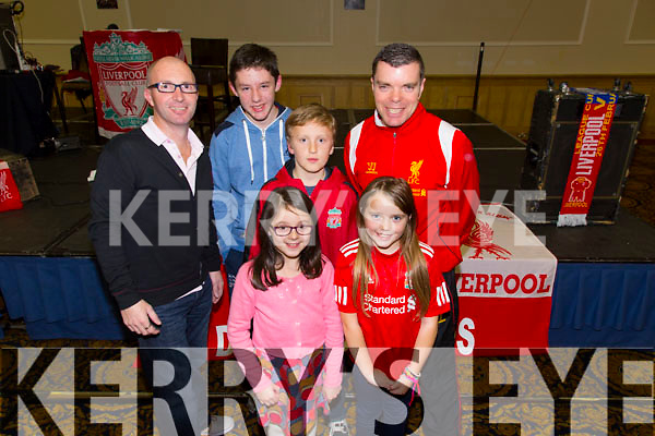 Front l-r Lydia O'Leary, Jessica Lynch.  Back l-r Niall Kelleher, Alex O'Leary, Conor Costello, Mike Lynch. enjoying the Kerry Liverpool Supporters Club, an Evening with LFC Legend John Barnes at the Brandon Hotel on Friday