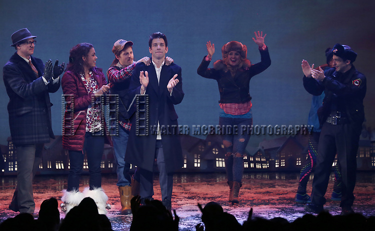 John Sanders, Barrett Doss, Andrew Call, Andy Karl and Rebecca Faulkenberry with cast during the Broadway Opening Night Curtain Call Bows for 'Groundhog Day' at August Wilson Theatre on April 17, 2017 in New York City.
