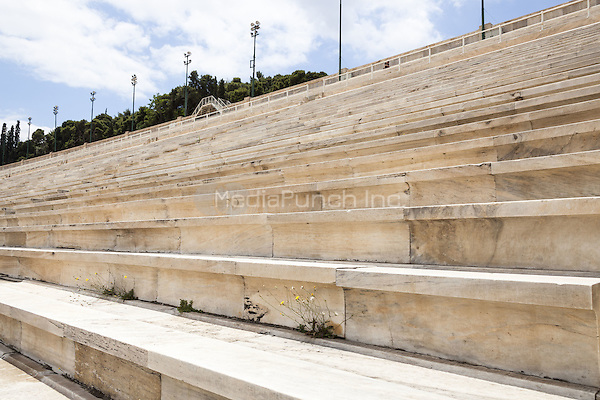 Seats in the Panathenaic Stadium, original modern day Olympic Stadium, Athens, Greece <br /> CAP/MEL<br /> &copy;MEL/Capital Pictures /MediaPunch ***NORTH AND SOUTH AMERICA ONLY***