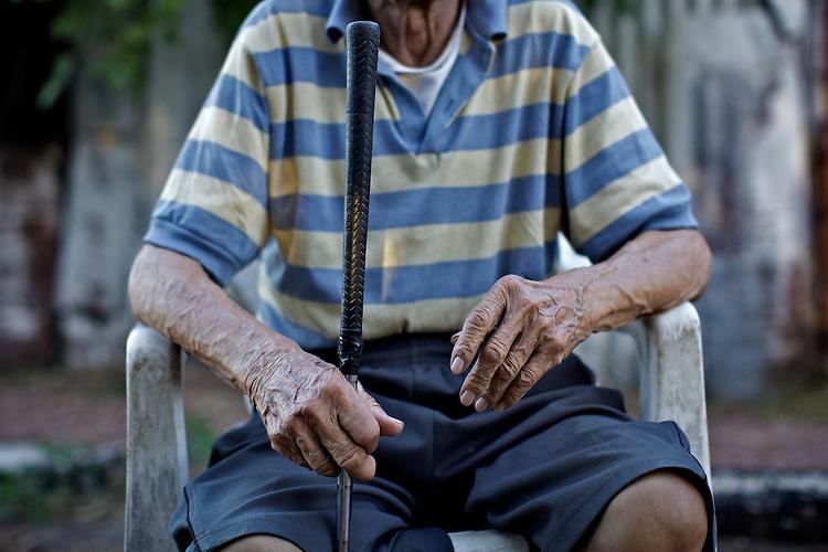 Pedro, an old time worker in Anglo.  Frigorifico (Slaughterhouse) Anglo, Fray Bentos, Rio Negro, Uruguay.  ..Pedro, un viejo trabajador del Anglo.  Frigorifico Anglo, Fray Bentos, Río Negro, Uruguay.
