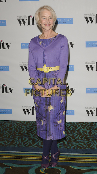 DAME HELEN MIRREN.At the De Lane Lea Women in Film & Television Awards, Hilton Park Lane, London, England, UK, .4th December 2009..TV WFTV full length purple dress yellow waist belt floral flower print cardigan dress tights shoes blue peep toe .CAP/CAN.©Can Nguyen/Capital Pictures