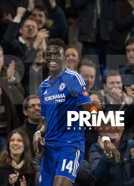 Bertrand Traore of Chelsea celebrates his goal making it 5-1 during the FA Cup 5th round match between Chelsea and Manchester City at Stamford Bridge, London, England on 21 February 2016. Photo by Andy Rowland.