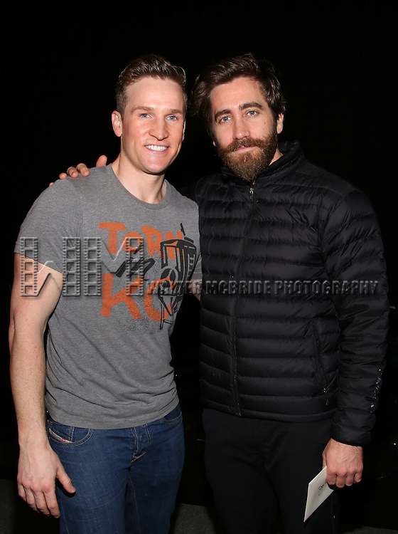 Claybourne Elder and Jake Gyllenhaal during the Actors' Equity opening night Gypsy Robe Ceremony honoring  MaryAnn Hu for ''Sunday in the Park with George' at the Hudson Theatre on February 23, 2017 in New York City.
