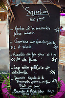 The day's specials board at Achill's restaurant, Villefranche-sur-Mer, France, 7 September 2012.