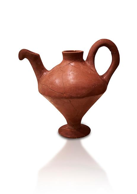 Hittite terra cotta side spouted teapot . Hittite Period, 1600 - 1200 BC.  Hattusa Boğazkale. Çorum Archaeological Museum, Corum, Turkey. Against a white bacground.