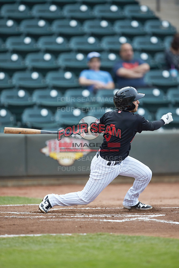 Nick Madrigal (3) of the Winston-Salem Dash follows through on his swing against the Wilmington Blue Rocks at BB&T Ballpark on April 17, 2019 in Winston-Salem, North Carolina. The Blue Rocks defeated the Dash 2-1. (Brian Westerholt/Four Seam Images)