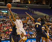 LOS ANGELES, CA - March 10, 2012: Nnemkadi Ogwumike of the Stanford University woman's basketball team competes against Cal during the PAC 12 Woman's Basketball Championship Game at the Staples Center in Los Angeles California. Final score Stanford won 77-62.