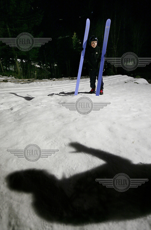 Adrian Fossheim Enehaug (11) is trying ski jumping for the first time and is getting instructions by veteran Terje Bjørn Grimshei. Linderudkollen ski jumping arena.
