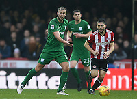 Preston's Tommy Spurr and Brentford's Neal Maupay<br /> <br /> Photographer Jonathan Hobley/CameraSport<br /> <br /> The EFL Sky Bet Championship - Brentford v Preston North End - Saturday 10th February 2018 - Griffin Park - Brentford<br /> <br /> World Copyright &copy; 2018 CameraSport. All rights reserved. 43 Linden Ave. Countesthorpe. Leicester. England. LE8 5PG - Tel: +44 (0) 116 277 4147 - admin@camerasport.com - www.camerasport.com