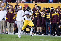 C.J. Anderson of California ran down the field for a touchdown after receiving a pass during a game against Arizona State at Sun Devil Stadium in Tempe, California on November 25th, 2011  - California defeated Arizona State  47 - 38
