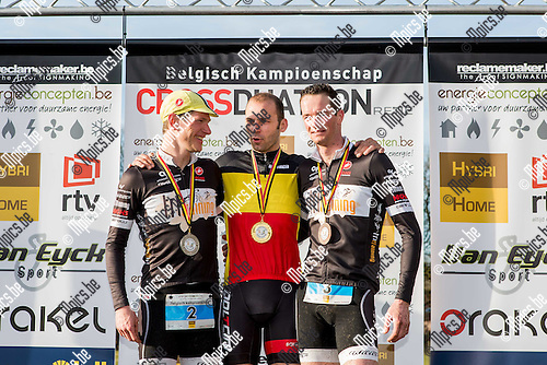2015-03-08 / Crossduathlon / Seizoen 2014-2015 / BK Crossduathlon Retie / Het podium bij de mannen met Seppe Odeyn, Rob Woestenborghs en Kris Coddens<br /> <br /> Foto: Mpics.be