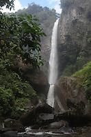 Machay Falls on Ruta de la Cascadas east of Banos, Ecuador