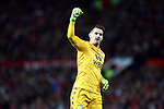 Tom Heaton of Aston Villa celebrates his sides opening goal during the Premier League match at Old Trafford, Manchester. Picture date: 1st December 2019. Picture credit should read: Phil Oldham/Sportimage