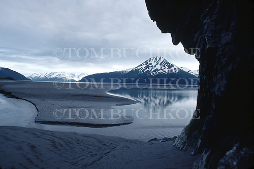 Grey day on Cook Inlet south of Anchorage, Alaska.