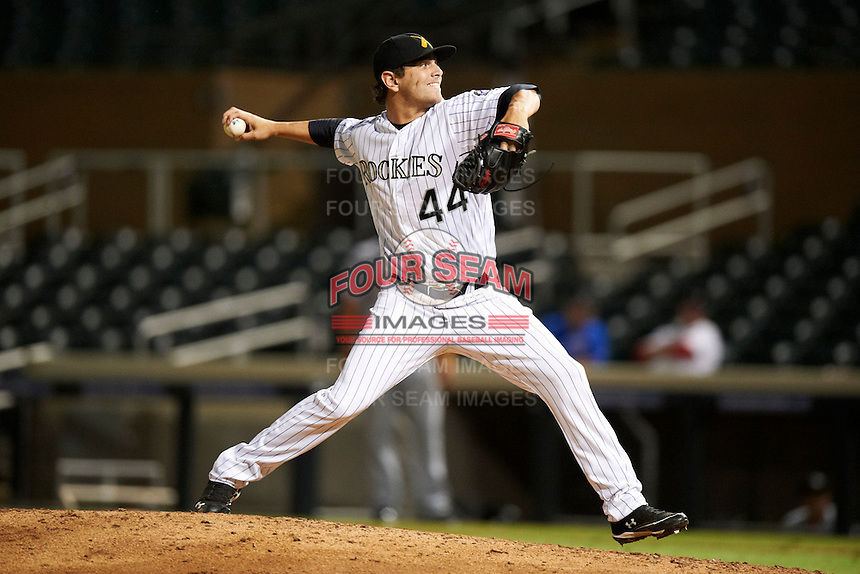 Salt River Rafters pitcher Cory Riordan #44, of the Colorado Rockies organization, during an Arizona Fall League game against the Peoria Javelinas at the Salt River Fields at Talking Stick on October 18, 2012 in Scottsdale, Arizona.  Peoria defeated Salt River 3-1.  (Mike Janes/Four Seam Images via AP Images)