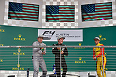 F4 US Championship<br /> Rounds 19-20<br /> Circuit of The Americas, Austin, TX USA<br /> Sunday 22 October 2017<br /> Kyle Kirkwood (Winner), Dakota Dickerson (second) and Skylar Robinson (third) celebrate on the podium after round 20<br /> World Copyright: Gavin Baker<br /> LAT Images