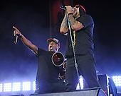 WEST PALM BEACH, FL - OCTOBER 02: Chuck D and B-Real of Prophets of Rage perform at The Perfect Vodka Amphitheater on October 2, 2016 in West Palm Beach Florida. Credit Larry Marano © 2016