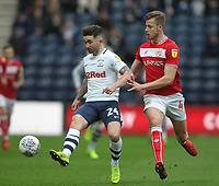 Preston North End's Sean Maguire battles with  Bristol City's Adam Webster<br /> <br /> Photographer Mick Walker/CameraSport<br /> <br /> The EFL Sky Bet Championship - Preston North End v Bristol City - Saturday 2nd March 2019 - Deepdale Stadium - Preston<br /> <br /> World Copyright © 2019 CameraSport. All rights reserved. 43 Linden Ave. Countesthorpe. Leicester. England. LE8 5PG - Tel: +44 (0) 116 277 4147 - admin@camerasport.com - www.camerasport.com