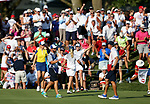 DES MOINES, IA - AUGUST 19: USA's Paula Creamer raises her arms to embrace teammate Austin Ernst in their 2&1 win over Europe in their afternoon four-ball match Saturday at the 2017 Solheim Cup in Des Moines, IA. (Photo by Dave Eggen/Inertia)