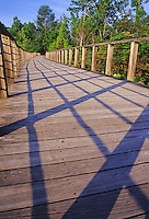 A strong and sturdy boardwalk crosses the marsh and wetlands at Beaver Marsh, Cuyahoga National Park, Summit County, Ohio