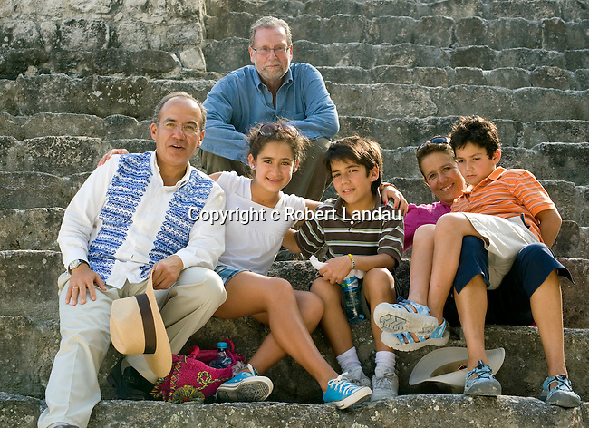 Peter Greenberg with President Calderon and Family on steps at Calakmul