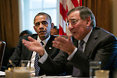 United States President Barack Obama listens as Defense Secretary Leon Panetta speaks during a Cabinet meeting in the Cabinet Room of the White House, November 28, 2012. .Mandatory Credit: Pete Souza - White House via CNP