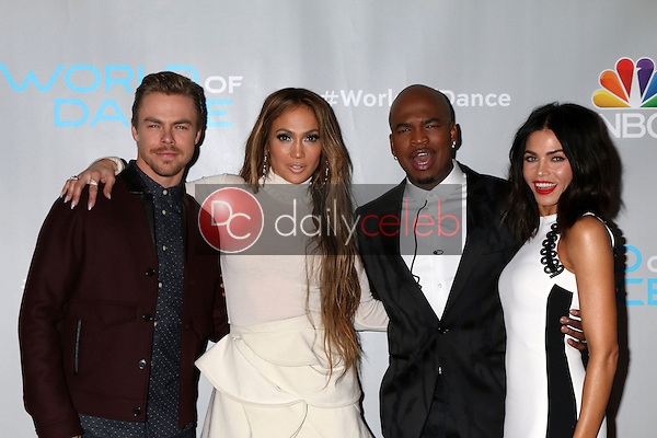"Derek Hough, Jennifer Lopez, Ne-Yo, Jenna Dewan Tatum<br /> at the ""World of Dance"" Photo Call, Universal Studios, Universal City, CA 01-25-17<br /> David Edwards/DailyCeleb.com 818-249-4998"