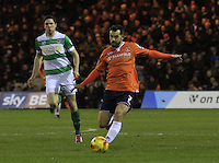 Alex Lawless of Luton Town in action during the Sky Bet League 2 match between Luton Town and Yeovil Town at Kenilworth Road, Luton, England on 2 February 2016. Photo by Liam Smith.