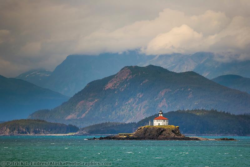 Eldred Rock lighthouse, Chilkat Mountain range, Sullivan Island, Lynn Canal, Alaska inside passage. Eldred Rock light is the oldest surviving lighthouse in Alaska, built in 1905.