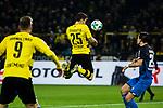 16.12.2017, Signal Iduna Park, Dortmund, GER, 1.FBL, Borussia Dortmund vs TSG 1899 Hoffenheim, <br /> <br /> im Bild | picture shows<br /> Sokratis (Borussia Dortmund #25) k&ouml;pft Benjamin Huebner (TSG 1899 Hoffenheim #21) an, <br /> <br /> Foto &copy; nordphoto / Rauch