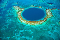 The Blue Hole, Blue Hole National Monument, Belize, Caribben Sea,  MesoAmerican Reef, Lighthouse Reef Atoll, 400 foot hole in reef surface from ice age, Largest reef in Western Hemisphere. Aerial view