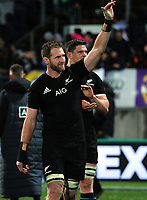 Kieran Read thanks fans after the Rugby Championship match between the NZ All Blacks and Argentina Pumas at Yarrow Stadium in New Plymouth, New Zealand on Saturday, 9 September 2017. Photo: Dave Lintott / lintottphoto.co.nz