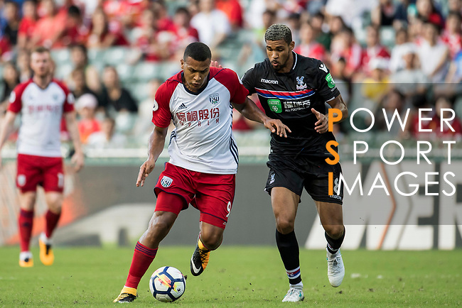 West Bromwich Albion forward Salomon Rondon (L) fights for the ball with Crystal Palace midfielder Ruben Loftus-Cheek (R)  during the Premier League Asia Trophy match between West Bromwich Albion and Crystal Palace at Hong Kong Stadium on 22 July 2017, in Hong Kong, China. Photo by Weixiang Lim / Power Sport Images