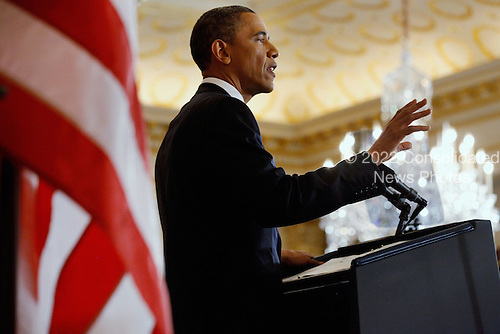 United States President Barack Obama delivers a speech on Mideast and North Africa policy in the Ben Franklin Room at the State Department May 19, 2011 in Washington, DC. Through the lens of the popular Middle East uprisings, the killing of Osama Bin Laden and the bloody crackdown on protesters by the Syrian government, Obama attempted to strike a balance between national security and the need for democratic reform in the Arab world..Credit: Chip Somodevilla / Pool via CNP