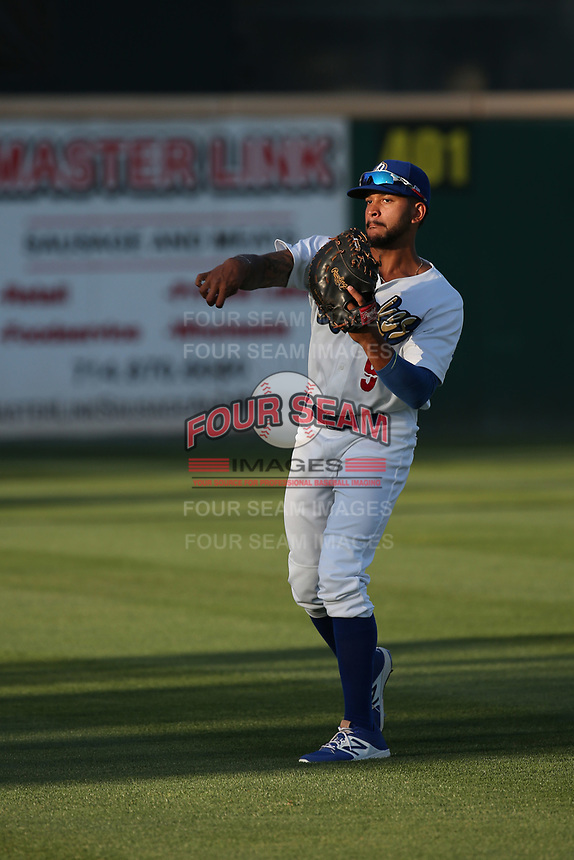 Jared Walker (9) of the Rancho Cucamonga Quakes throws before a game against the Modesto Nuts at LoanMart Field on June 5, 2017 in Rancho Cucamonga, California. Rancho Cucamonga defeated Modesto, 7-5. (Larry Goren/Four Seam Images)